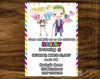 Suicide Squad Invitation - Suicide Squad Birthday- Harley Quinn Invitations -Harley Quinn Birthday Invitations - Girls Superhero Invitations