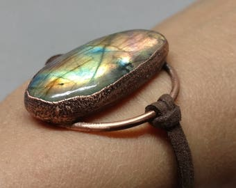 Gifts for Her - Boho Chic - Leather Wrap Bracelet - Statement Bracelet - Rustic Jewelry - Labradorite Bracelet - Labradorite Wrap Bracelet
