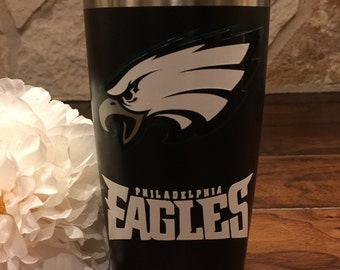 Philadelphia Eagles Personalized Double Wall Insulated Yeti-Like Stainless Steel Tumbler