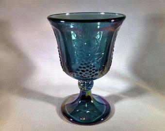 Vintage Indiana Carnival Glass Harvest Grape Goblet/Wine Glass - 1970's