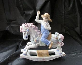 Vintage Paul Sebastian Porcelain Girl On Rocking Horse 1991    568
