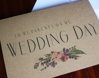 Wedding Day Parents Card A5 Kraft Paper with Envelope