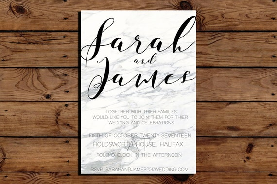 simple white grey marble wedding invitation