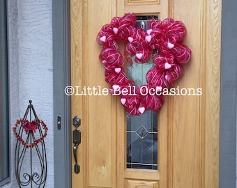 Valentine Wreath/Heart Shaped/Pink Hearts/Red Ribbon/Front Door/Valentine Party/Sparkly Pink Hearts/Romantic