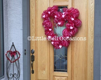 Valentine Wreath/ Front Door/ Home Decor/ Heart Shaped/ Pink Hearts/ Red Ribbon/ Valentine Party/ Sparkly Pink Hearts/ Romantic/ Gift/ Fun