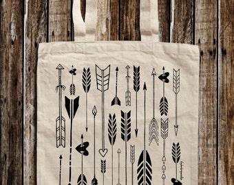 Arrow Graphic Print Canvas Tote Bag