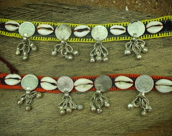 Cowry shell, gypsy choker/arm cuff, old Indian coin adorned