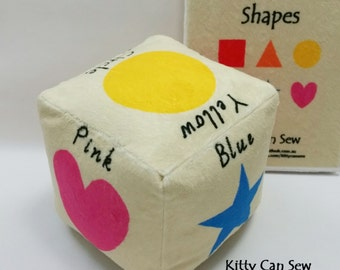 Shapes soft block, learning block, soft cube, soft toy, educational toy, learn shapes, learn colours, playful learning, plushie, baby gift