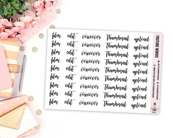 Youtube Words || 45 Word Stickers, Planner Stickers, Functional Stickers, Youtube Planner Stickers, Cursive Words, Planner Decor