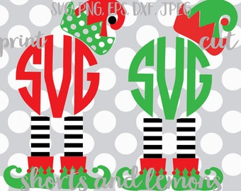 elf monogram svg, Christmas svg, elf svg, SVG, DXF, EPS, elf feet svg, elf hat svg, commercial use, funny svg, ideas, santa svg, elf dxf