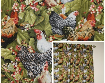 Kitchen Curtains bird kitchen curtains : Chicken curtains | Etsy
