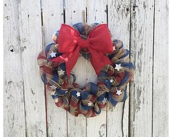 CUSTOM Fourth of July Wreath, Fourth of July decor, patriotic wreath, Home decor, door wreath