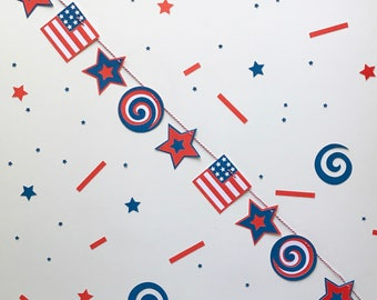 Red, White and Blue Garland