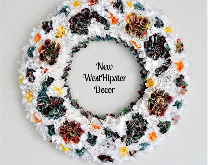 Spring Wedding wreath, teal wreath, boho wreath, Spring decor, yellow wreath, white wreath, fabric wreath, year round wreath, custom,