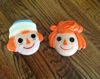 Vintage Raggedy Ann and Andy Chalkware from 70's