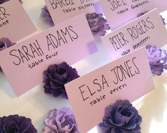 Purple Paper Flowers (Set of 50) | table decoration | paper flowers wedding | favors | place card holder