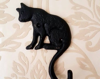 Cast Iron Wall Hanging Hook Lucky Black Cat Hand Forged