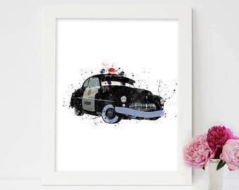 Disney Cars, Art Disney Print, Watercolor Printable, Disney Cars Decor, Sheriff Car, Disney Poster ,Disney Cars Printable, Instant Download