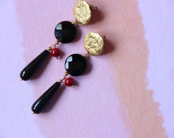 Onyx, black and red gemstone earrings