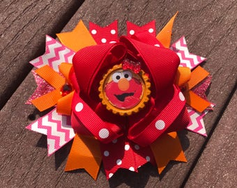 girls elmo bows elmo bows boutique bows Elmo bows , Sesame Street bows , big elmo boutique bows over thr top birthday bow, elmo birthday bow