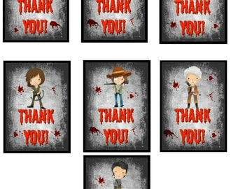 Walking Dead Thank You Treat Bag Tags-7 Total Zombies, Rick Grimes, Negan, Daryl Dixon, Party Favor, Party Supplies