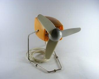 Vintage Mid Century Bright Orange Severin 3720E Electric Table Fan