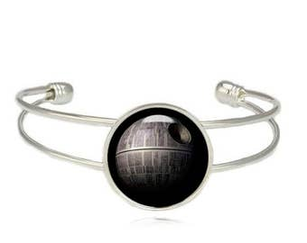 Death Star Cuff Bangle Star Wars Bracelet Death Star Jewelry Geeky Jewelry