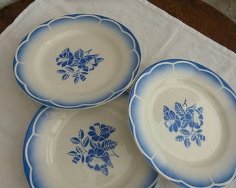 Vintage French plates. 3 blue rose stencilled plates by Digoin Sarreguemines, Marsac pattern.