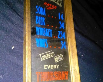 Vintage Bar Rates Sign Bar Decor ****1950's-1970's******* Freshly Picked