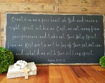 Create In Me A Pure Heart Framed Sign 2'x4'|Psalms 51:10-12|Inspirational|Handpainted|Wood Sign