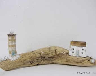 Handmade Driftwood cottage with little lighthouse