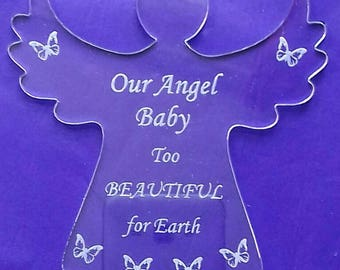 Angel baby memorial, miscarriage plaque, acrylic, in memory, infant loss, baby loss gift