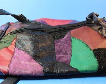 Vintage 1970s Colorful Patchwork Leather Handbag Purse