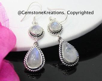 Moonstone Earrings,  925 Sterling Silver Ring, Gemstone Earrings, Crystal Earrings