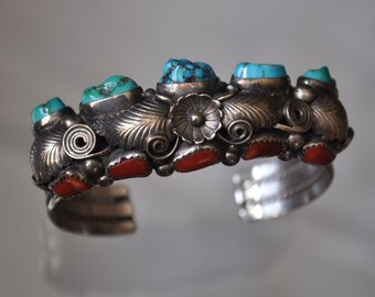 Vintage Native American Silver , Turquoise & Coral Cuff Bracelet signed G C