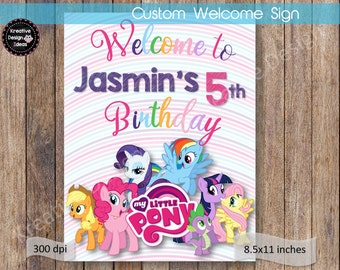 My Little Pony Welcome Sign My Little Pony Name Birthday Welcome Sign Printable  My Little Pony Birthday Party Theme Digital File