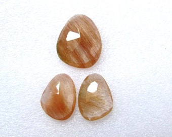 Pair (3 pcs) Natural COPPER Rutile, Uneven Rose Cut, Size (20.5x16.5 mm - 1 pcs Or 16x12 mm -2 pcs) Irregular Rose cut,AAA Quality