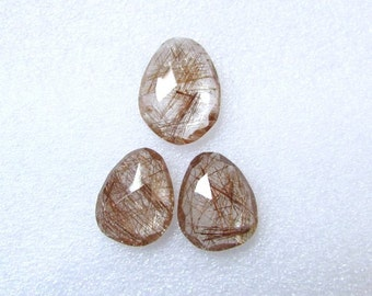 Pair (3 pcs) Natural COPPER Rutile, Uneven Rose Cut, Size (21.5x16mm - 1 pcs Or 18x14.5 mm -2 pcs) Irregular Rose cut,AAA Quality
