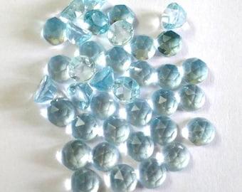 10 piece 6mm Blue Topaz Rosecut Round Gemstone, Sky Blue Topaz Round Rosecut Gemstone, 6mm Sky Blue Topaz Rosecut Round Loose Gemstone