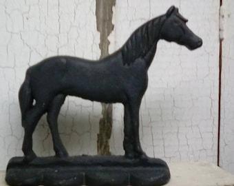 Cast iron horse door stop Horse door stop Black horse door stop Antique cast iron door stop Vintage cast iron door stop Old horse door stop