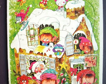 Santa's House Frame Tray Puzzle 1974 by Whitman