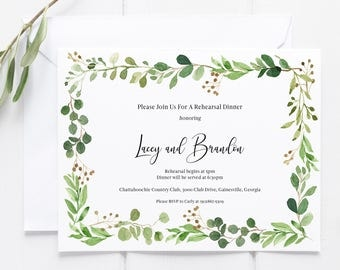 Greenery Rehearsal Dinner Invitation, Rehearsal Dinner Invitation, Printable Rehearsal Dinner Invitation, Floral, Botanical, Eucalyptus