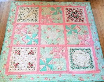Vintage Hanky Quilt/Aqua and Pink Toddler Quilt/Vintage Hanky Lap Quilt/Handmade Quilt/Unique Handmade Lap Quilt/One of a Kind Quilt