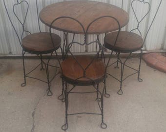 Vintage Ice Cream Parlor Table & 3-chair Bistro Set