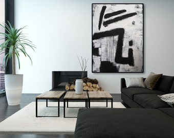 XL Black and White Abstract Painting / Modern Art / Contemporary Art / Black and White Painting / Black and White Texture Painting