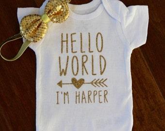 Hello I'm New Here Baby Onesie, New Baby Onesie, New Baby Gift, New Baby, Hello I'm New Here Onesie   Hello I'm New Here Baby Girl