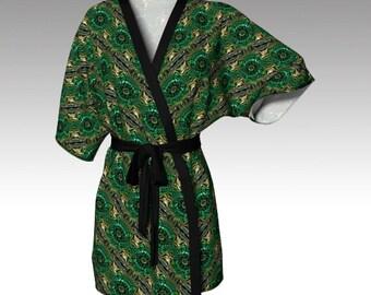 Kimono Robe, Draped Kimono, Dressing Gown, Green Robe, Beach Coverup, Bridesmaids Robe, Lounge Wear, Swimsuit Coverup, Womens Robe, Goddess