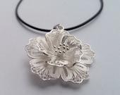 Flower Pendant Flor Grande, Filigree Pendant, Filigrana Cordobesa, Sterling Silver Pendant, White Silver Pendant, Handmade Gift Idea for Her