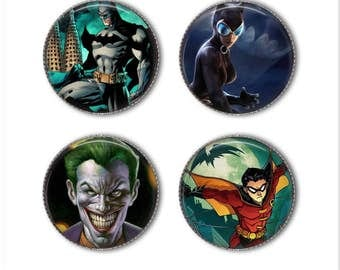 Batman magnets or Batman pins, superhero magnets, superhero pins,  Robin, Catwoman, Joker
