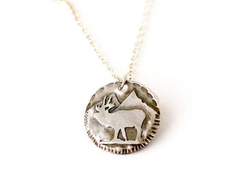 Elk Sterling Silver Medallion Necklace